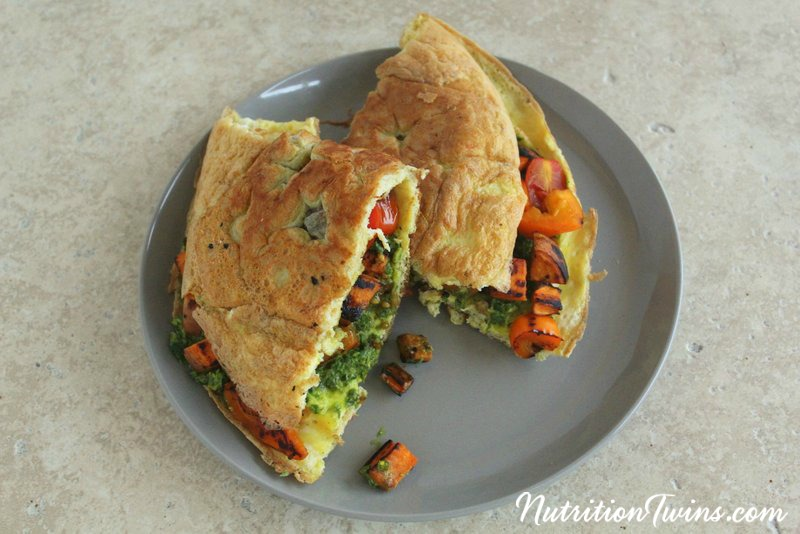 Alphabet Pesto Veggie Omelet | Nutrition Twins