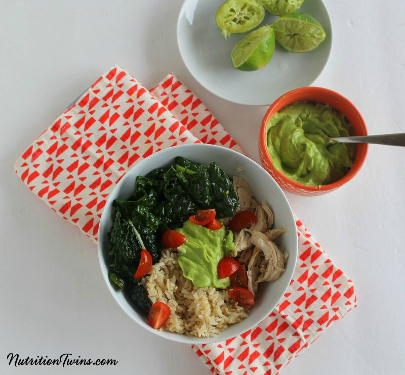 Kale Chicken Burrito Bowl from The Nutrition Twins