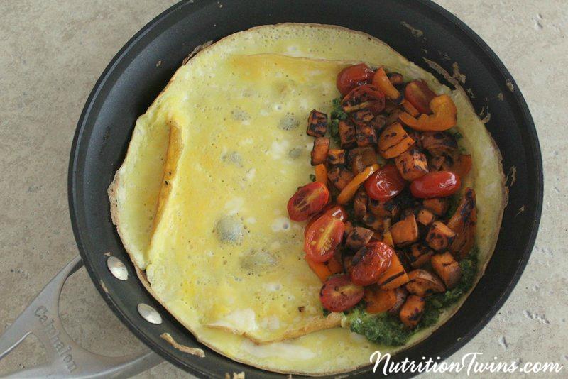 Alphabet Pesto Veggie Omelet | Nutrition Twins