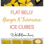 Ginger and turmeric with ice cubes and in ice cube tray